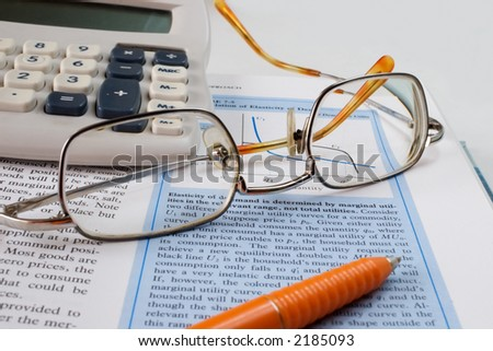 studying economy - stock photo