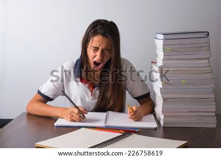 Studying girl - stock photo