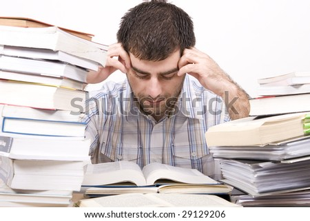 studying man - stock photo