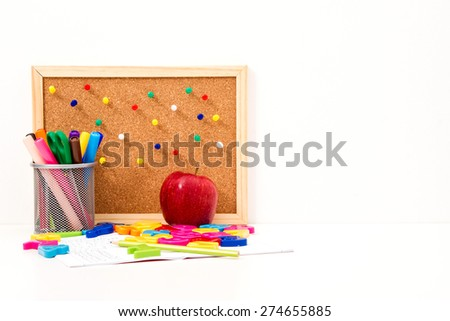 Studying maths, doing some calculations, background - stock photo