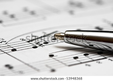 Studying music - stock photo