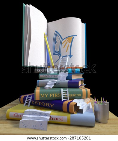 studying school books. back to school concept background with stairs - stock photo