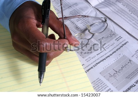Studying the markets - stock photo