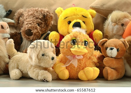 Stuffed animal toys - stock photo