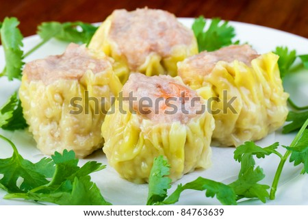 Stuffed Asian Dim Sum dumplings - stock photo
