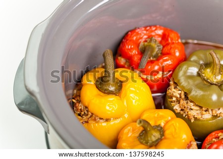 Stuffed Bell Pepper in a Slow-cooker - stock photo