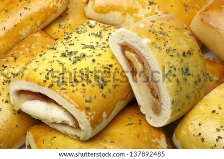 stuffed bread baked - stock photo