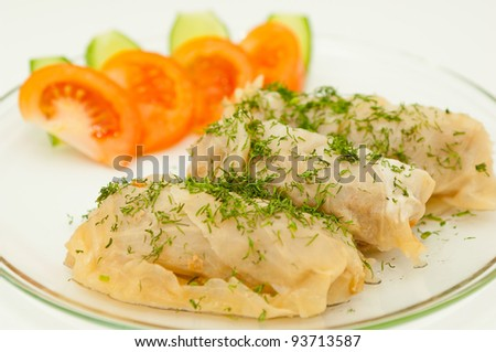 Stuffed cabbage on a plate against white