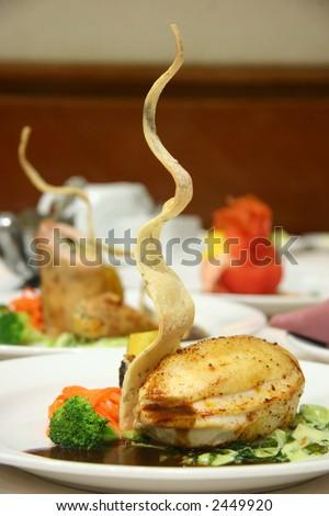 Stuffed chicken breast with leek stew - stock photo