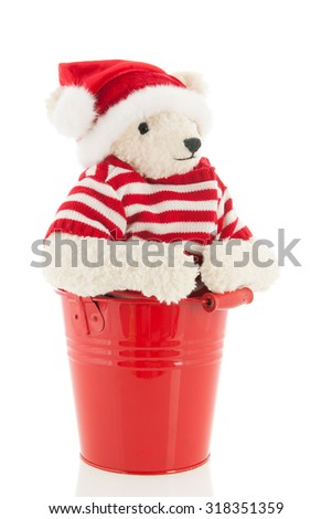 Stuffed Christmas  bear isolated over white background - stock photo