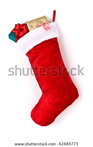 Stuffed Christmas stocking - stock photo