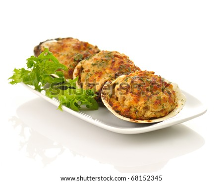 stuffed clams in a plate - stock photo