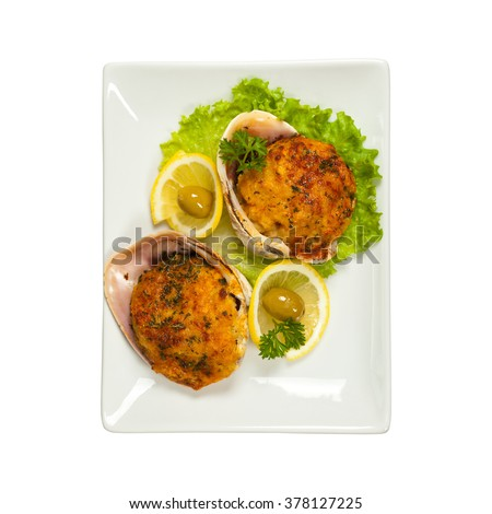 Stuffed Clams Isolated on white background. Selective focus. - stock photo
