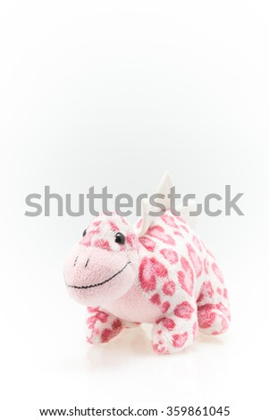 Stuffed cute little pink dinosaur  for little kids and baby for play and learning.