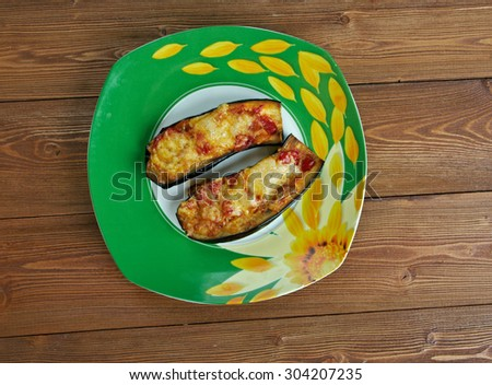 stuffed Eggplant papucaki -  dish found on both Turkish and Greek sides of the Aegean Sea - stock photo