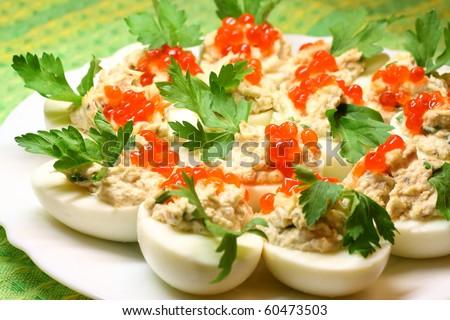 Stuffed Eggs - stock photo