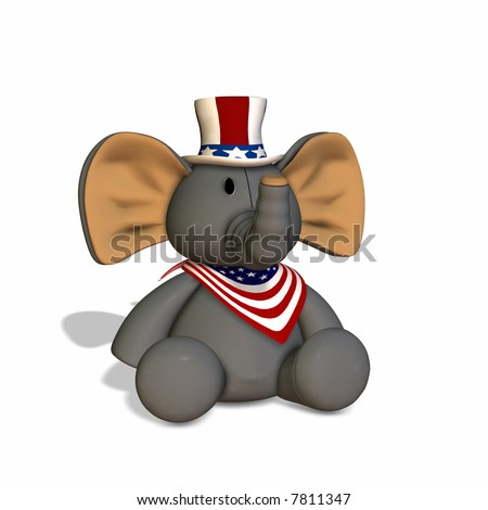 Stuffed Elephant Republican Political Elephant - stock photo