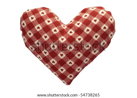 Stuffed gingham heart with a red pattern - stock photo