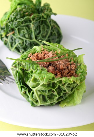 stuffed green cabbage with beef