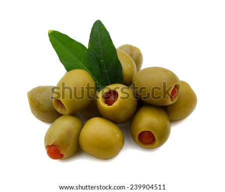 stuffed green olives on a white background  - stock photo
