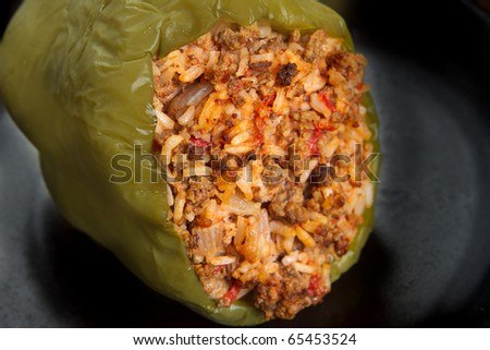 stuffed green pepper with spanish rice - stock photo