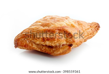 stuffed meat pie isolated on white background