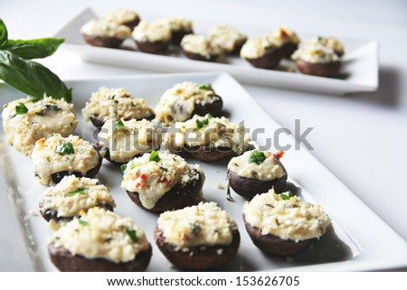 Stuffed Mushrooms Caprese - stock photo