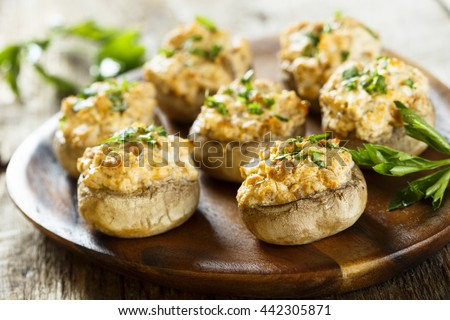 Stuffed mushrooms with salmon and cream