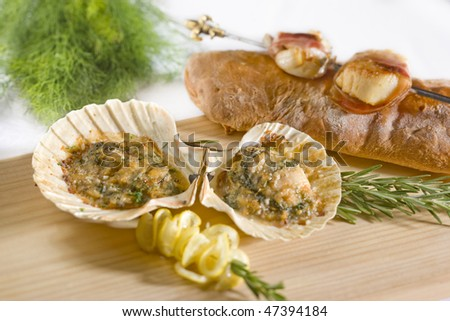 Stuffed mussel - stock photo