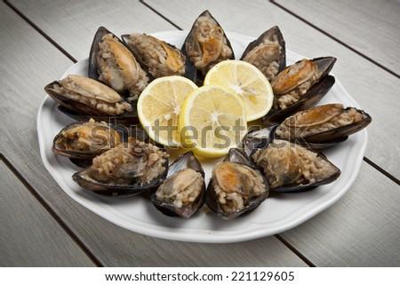 Stuffed Mussels, Midye Dolma mediterranean cuisine - stock photo