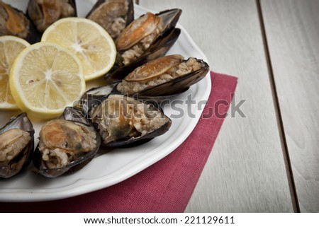 Stuffed Mussels, Midye Dolma mediterranean cuisine - stock photo