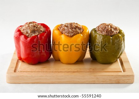 Stuffed pepper with meat - stock photo