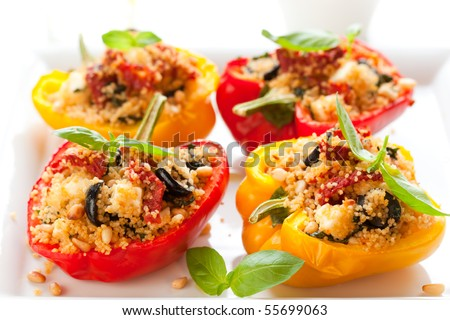 ... peppers stuffed peppers with couscous dried tomatoes feta olives and