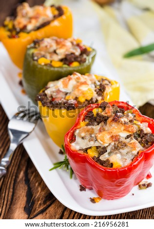 Stuffed Peppers with minced meat (beef), cheese and fresh herbs