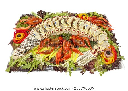 stuffed pike with vegetables and herbs - stock photo