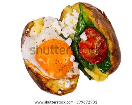 Stuffed potato with egg, cheese, spinach, and tomato. Isolated on white. View from above, top studio shot - stock photo