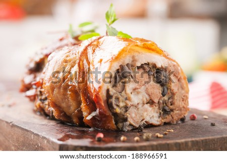 Stuffed roasted meat - stock photo