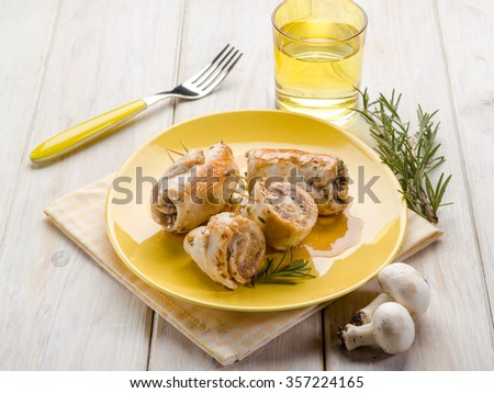 stuffed roll with mushrooms - stock photo