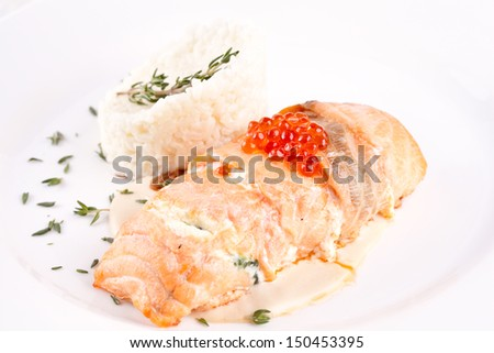 Stuffed salmon with rice