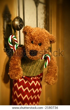 Stuffed stocking waiting for Christmas - stock photo