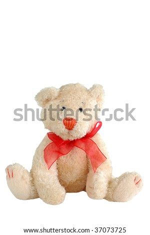 stuffed teady bear with red bow tie - stock photo