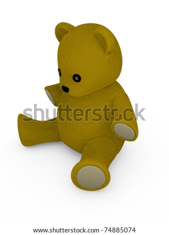 Stuffed teddy bear. Concept of softness. 3d illustration - stock photo