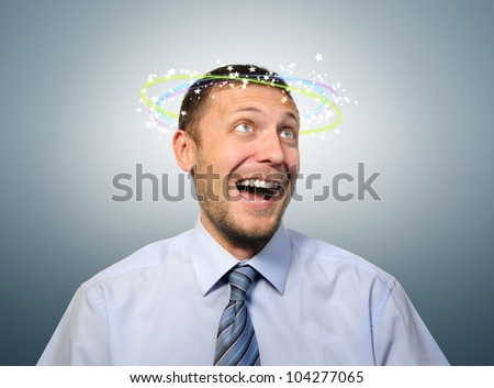 Stunned with happiness business manager, concept strike happy - stock photo