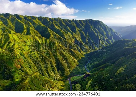 Stunning aerial view of spectacular jungles, Kauai, Hawaii - stock photo