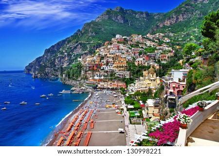 stunning Amalfi coast. Positano - stock photo
