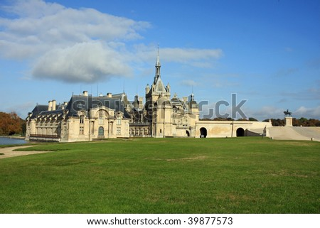 Stunning architecture at the Domaine de Chantilly's chateau - stock photo