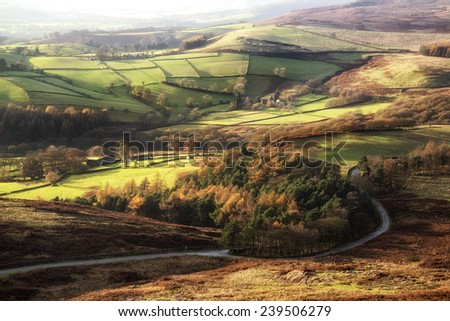 Stunning Autumn Fall landscape of Hope Valley from Stanage Edge in Peak District - stock photo