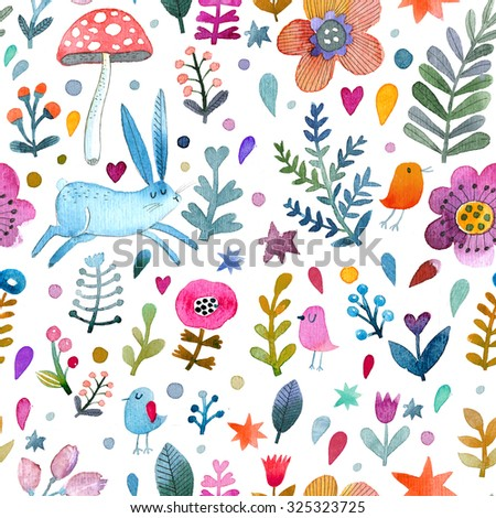 Stunning background with cute rabbit, birds, flowers, leafs and mushroom in awesome colors. Lovely forest theme set made in watercolor technique. Bright summer concept wallpaper  - stock photo