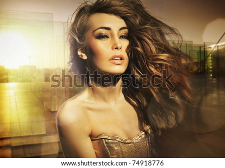 Stunning beauty posing in the sun - stock photo