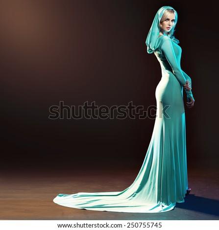 Stunning blonde beauty posing - stock photo